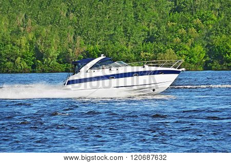 Motorboat on the Dnieper river Kiev Ukraine