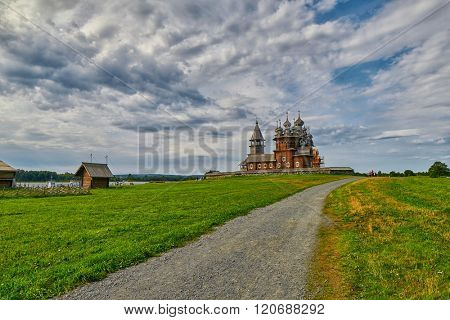 Abstract Landscape view with path and grass with Russian Orthodox Church