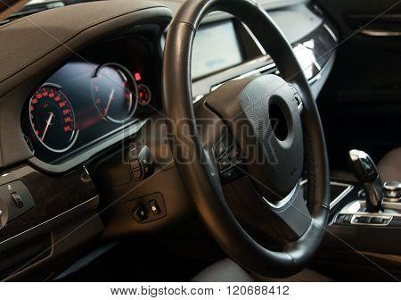 Dark Luxury Car Interior