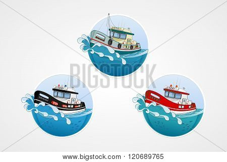 Set Of Vector Elements. Moving Speed Fishing, Rescue And Police Boat. Deep Sea With Wave. Round Comp