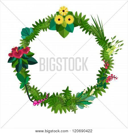 Vector flat colorful circular floral wreaths. Vector flat wreath with flowers. Save the date. Weddin