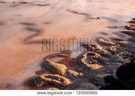 Salt manufacturing close-up view