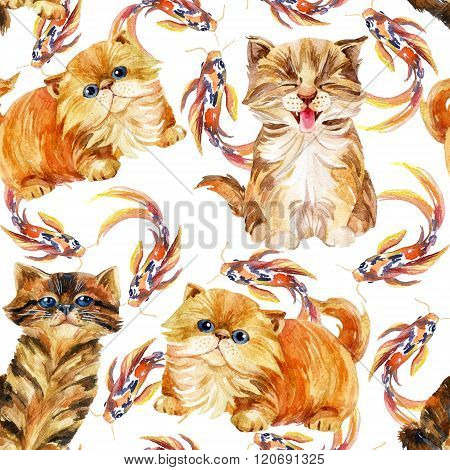 Kitten Seamless Pattern.