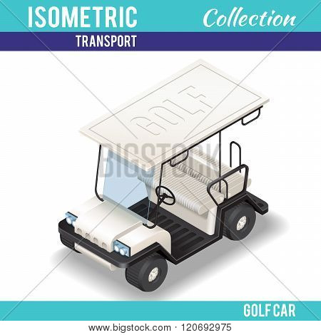 Isometric white Golf Car.