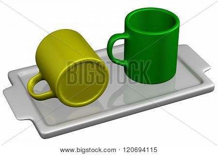 Two Mugs On Salver, Isolated On White Background.