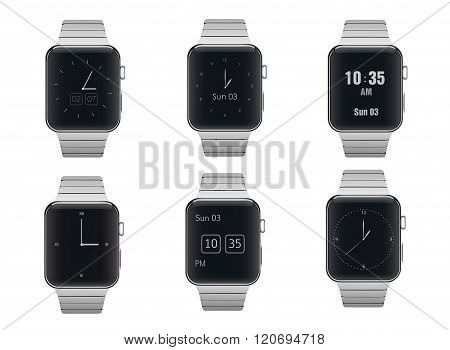 Set of electronic smart watches with different dials design isolated.