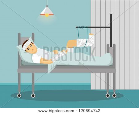 Man with broken leg and hand in Hospital. Vector illustration.