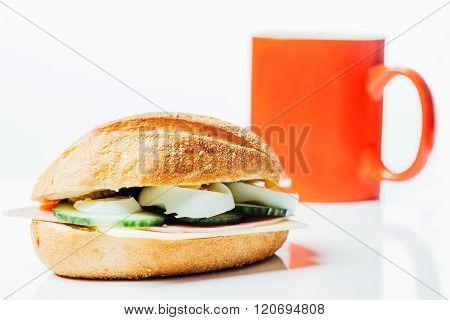 Breakfast Wholemeal Sandwich And Red Coffee Mug
