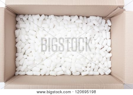 Packaging Box Filled With Styrofoam Pellets