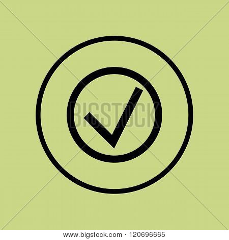 Accept Icon, On Green Background, Circle Border, Dark Outline