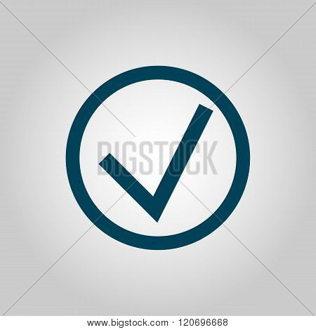 Accept Icon, On Grey Background, Blue Outline, Large Size Symbol