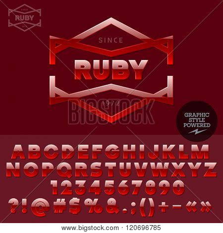 Ruby plastic logo for jewellery store. Vector set of letters, numbers and symbols.