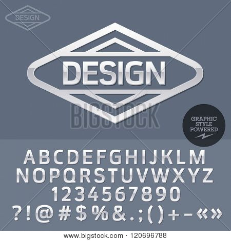 Grey plastic logo for graphic designer office. Vector set of letters, numbers and symbols.