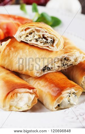 Pita zeljanica, balkans rolled phyllo pastry filled with spinach and cheese
