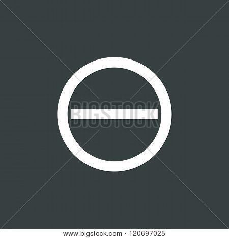 Minus Icon, On Dark Background, White Outline, Large Size Symbol