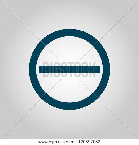 Minus Icon, On Grey Background, Blue Outline, Large Size Symbol