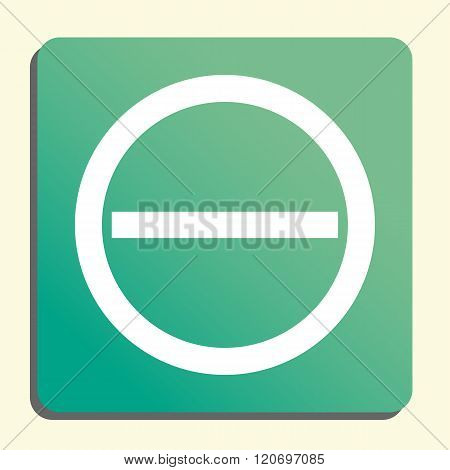 Minus Icon, On Button Style Green Background, Yellow Light, Shadow