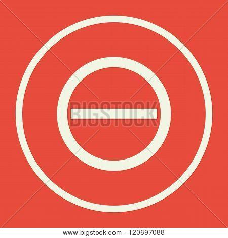 Minus Icon, On Red Background, White Circle Border, White Outline