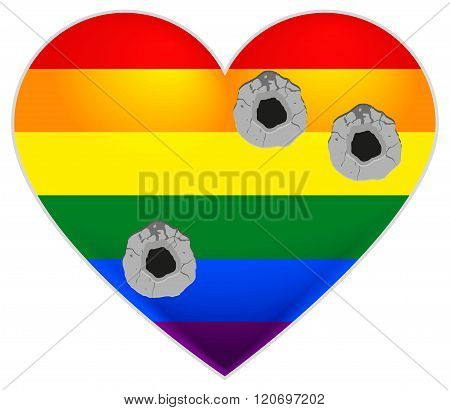 Rainbow flag gay. LGBT flag heart. Rainbow heart Gay pierced by bullets
