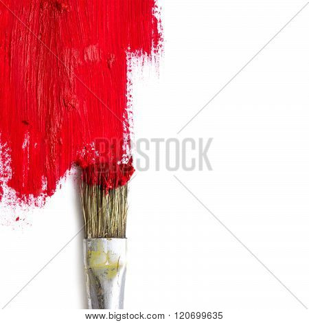Paint Brush Paints The White Surface With Red Color, Concept Representing Changing Times And A New E