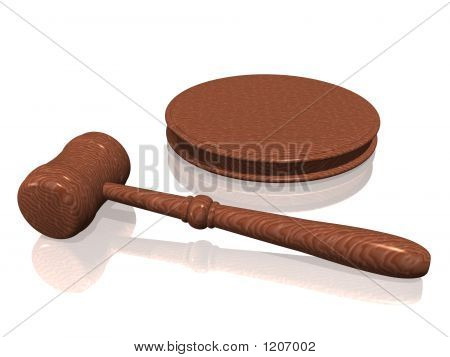 Wooden Gavel From The Court On White Background