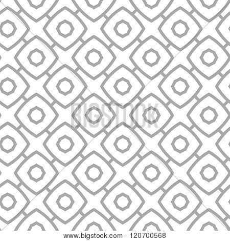 Simple Geometric Vector Seamless Pattern - Gray Contour Figures On White Background
