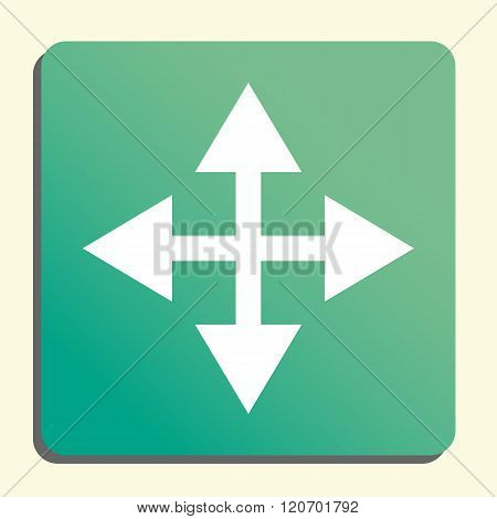 Arrow Icon, On Button Style Green Background, Yellow Light, Shadow