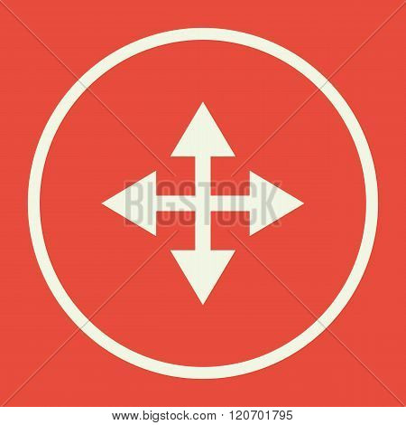 Arrow Icon, On Red Background, White Circle Border, White Outline