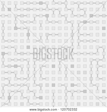 Abstract Seamless Vector Circuit Labyrinth Monochrome Pattern - Gray Squares And Connections