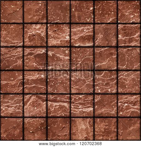 Seamless Texture Of Dirty Red Stone Tiles Wall With Spots
