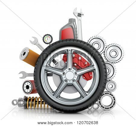 The Concept Of Truck Wheels With Details On A White Background.
