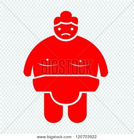 an images of Sumo wrestling People Icon Illustration design red