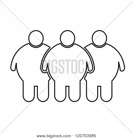 an images of 3 Fat People Icon Illustration design