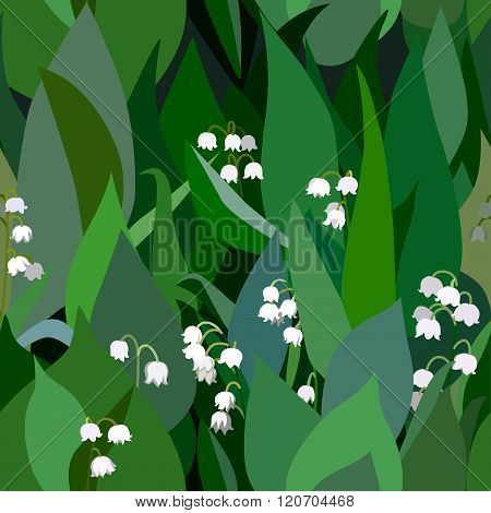Seamless Background From Bunch Of Blossoming  Lilies Of The Valley Flowers And Leaves