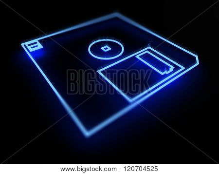 Floppy disk drive neon on black background