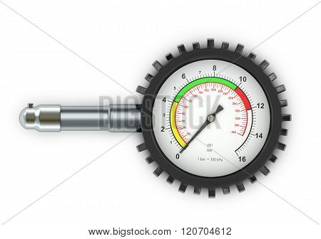 Pressure For Car Wheels On A White Background.