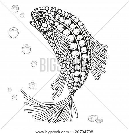 Coloring book for adult. Zen art. Fantastic fish floats on the sea bottom. Art background.