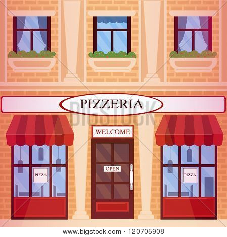 Pizzeria Restaurant Building In Flat Style