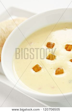 Image of spicy parsnip soup on beautiful background