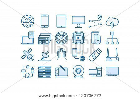 Wireless technology icon set.Line art. Stock vector.
