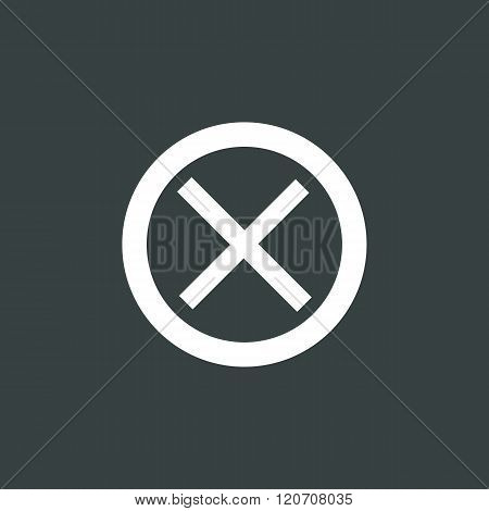 Cancel Icon, On Dark Background, White Outline, Large Size Symbol