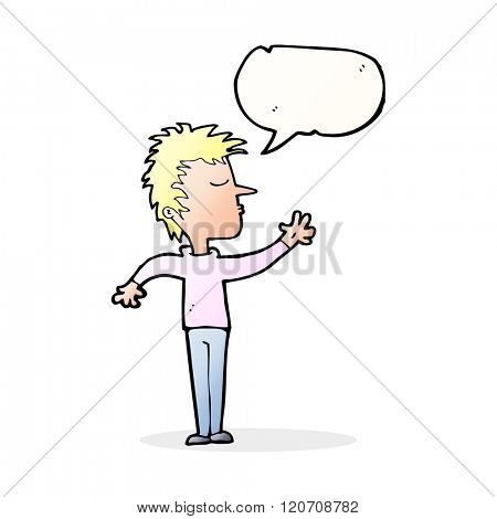 cartoon dismissive man with speech bubble