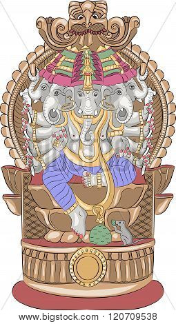Vector. God Ganesha.