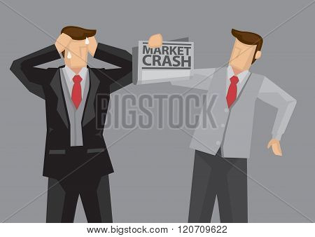 Devastating Market Crash News Vector Illustration