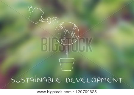 Tree With World Globe And Watering Can, Sustainable Development