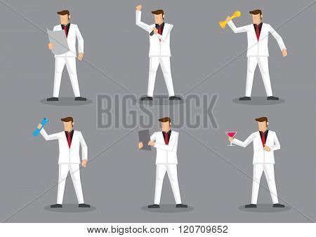 Stylish Man In White Suit Vector Character Set