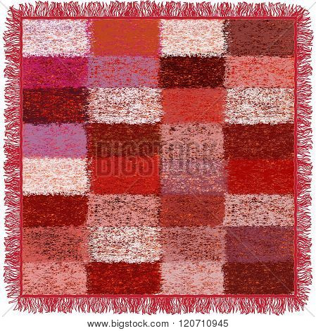 Weave Grunge Striped And Checkered Soft Plaid With Fringe In Pink,red,white, Violet,brown Colors