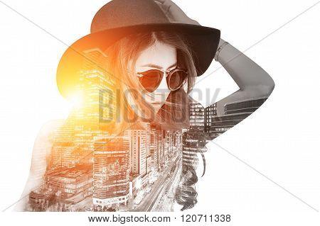 Double Exposure,beautiful Girl And Cityscape. Retro Tone.
