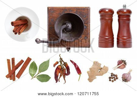 Spices And Seasonings For Food. The Mill And Salt Shaker.