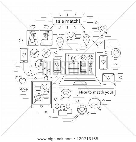Online dating outline icons set. Trendy outline vector icons. Communication people